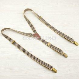 Wholesale Vintage Clothes For Men - Wholesale- 3 Clip Suspender Braces striped vintage adjustable bronze fashion clothing recessionista suspenders for men and women 2.0*120