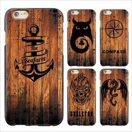 Wholesale Cool Iphone 4s Cover - Cool Boat Anchor Animal Wolf Compass Wood Relief Painting Soft TPU Case Back Cover For iPhone 4 4S 5 5S SE 6 6S 7 Plus iPhone7