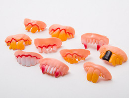 Wholesale Funny Teeth Jokes - 2018 New Joke Teeth False Teeth Rotten April Fool's Day Funny Fake Teeth Dentures Halloween Prop Costume Fancy Dress Party