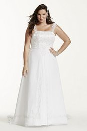 Wholesale Custom Overlays - 2017 A-Line Plus Size Wedding Dresses with Cap Sleeves chiffon split front overlay And metallic embroidery 9V9010 Bridal Gown