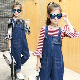 Wholesale Overall Jeans For Kids - Fashion Blue Girl Jeans Overalls Kids Clothing 2017 Hot Style Spaghetti Strap Neck Pocket Casual Long Denim Trousers For Children