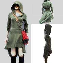 Wholesale Girl S Dress Hoodie - Girl Camouflage Hooded Bodycon Mini Dress Long Sleeve Slim Hip High Low Design Drawstring Hoodies Dresses With Cap Hat