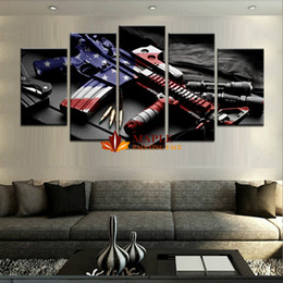 Wholesale Large Abstract Wall Paintings - Wholesale large wall art 5 pieces HD printed gun home decorative pictures for living room cheap canvas prints for sale abstract art painting