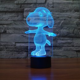 Wholesale Novelty Dog Gifts Toys - Wholesale- Novelty Lighting Cartoon Dog 3D Illusion LED Night Lights Colorful Table Lamp For Party Christmas Gift Kids Toys Home Decor