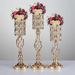 Wholesale Candle Pillars Holders Wholesale - Metal Golden Candle Holders Hollow Wedding Table Candelabra Centerpiece Flower Rack Road Lead Home Decor 10 Pcs   Lot