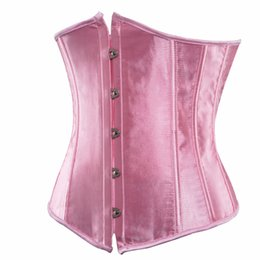 Wholesale Cheap Satin Lingerie - women satin corsets and bustiers black underbust corset plus size waist cincher sexy lingerie corset cheap s-6xl pink red white
