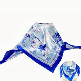Wholesale Printed Scarves China Wholesale - Wholesale- New Silk Square Scarf 90 cm Luxury Scarves Women Autumn Spring Retro Blue and White china Print Shawls and Scarves For Ladies