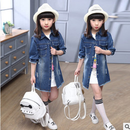 Wholesale Children S Denim Fashion - Children 's Clothing Trench New 2016 Denim Jacket in Large Children' s Fashion Leisure Cowboy Windbreaker Blue Size6-14 ly150