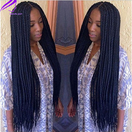 Wholesale Hair For Braiding Micro Braids - Hot micro braids wig lace front Synthetic wig black color box braided wig, Full braided hair lace front wigs for black women