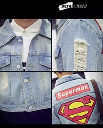 Wholesale Superman Long Sleeve Mens - Men's Denim Jacket high quality fashion Jeans Jackets Slim fit casual superman printing Vintage Mens jean clothing streetwear outerwear
