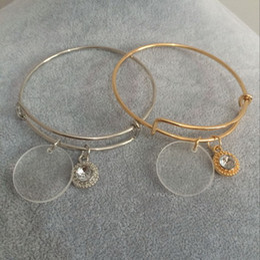 Wholesale Crystal Pave Bracelets - Fashion Wholesale Personalized Acrylic Paved Crystal Charm Adjustable Bangle Jewelry Monogram Clear Disc Charm Bangle Bracelet