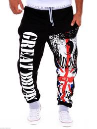 Wholesale Britain Size - Wholesale- 2016 autumn famous brand great britain print men joggers pants midawaist sweatpants for men size 2xl