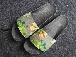 Wholesale Orange Womens Heels - 2017 new arrival mens and womens fashion flower tiger printing leather slide sandals boys and girls causal beach slippers