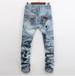 Wholesale American Cotton Trousers - Men Straight Jeans Classic Denim Trousers 2016 Robin Jeans For Men,High Quality Cotton Jeans Fried Snow Slim Jeans Rhinestone Decoration