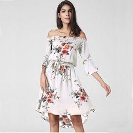 Wholesale Hot Sale Dresses Maxi - 2017 Summer Women Dress Bohemian Sexy short sleeve Off shoulder Flower Print Woman long Maxi Dresses Feminino Vestidos Hot sale