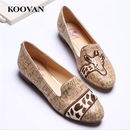 Wholesale Ladies Dresses For Office - Koovan Fashion Women Shoes 2017 New spring Autumn Flat Platform Loafer Shoes Embroidered Giraffe Casual Outdoor For Ladies Students W016