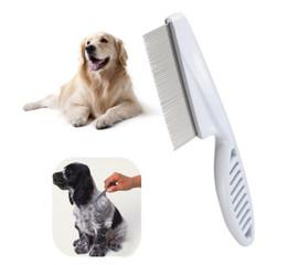 Argentina gran promoción !! 300pcs al por mayor-caliente del perro del animal doméstico de la pulga del pelo del peine inoxidable Pin Dog Grooming cepillo peine herramienta limpia Suministro