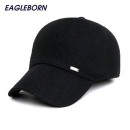 Wholesale Men Stylish Wool Hats - Wholesale- 2016 Simple Stylish Winter Wool Warm Men's baseball cap with ear flaps brand solid black dad hat snapback cap hats for men