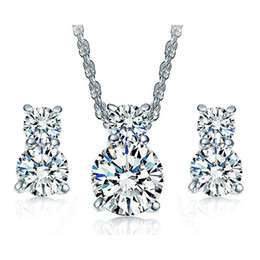 Wholesale Cat Earrings For Girls - 18K White Gold Plated AAA+ Clear Cubic Zirconia CZ Cute Kitty Cat Stud Earrings Chain Necklace Kids Jewelry Sets for Children Girls