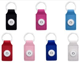 Wholesale Square Metal Key Chains - Mix Colors Fashion PU Leather Square Keyring Noosa Chunks 18mm Snap Buttons Key Chains Jewelry For Men & Women