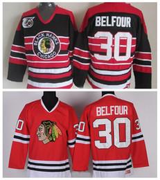 2019 ed belfour jersey Vintage Chicago Blackhawks Hockey Maglie Uomo 30 Ed Belfour Home Rosso Vintage Ed Belfour 75th Anniversary Maglia nera S-XXXL sconti ed belfour jersey