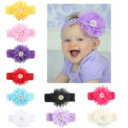 Wholesale Headbands For Toddlers Girls - Baby Headbands Chiffon Flowers Headband for Girls Toddler Boutique Elastic Hair Bands Childrens Pearl Rhinestones Hair Accessories