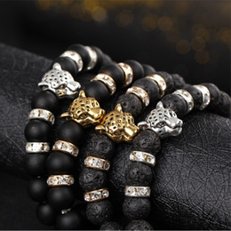 Wholesale Gold Strand Bracelets - Beaded strands semi precious stone beads Stretch bracelet Hand string of beads Natural frosted Black lava rock The lion's head bracelet new