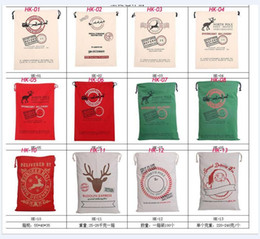 Wholesale Organic Cotton Canvas Wholesale - New Christmas Gift Bags Large Organic Heavy Canvas Bag Santa Sack Drawstring Bag With Reindeers Santa Claus Sack Bags for kids