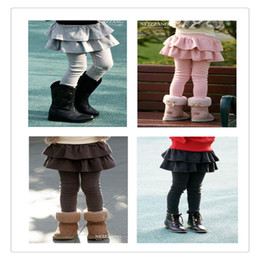 Wholesale Double Ruffle Pants - 2016 Hot Girls Tutu Pantskirt Stretchy Fleece Lined Footless Leggings With Ruffle Tutu Skirt For Girls Kids Double Layers Culottes Pants