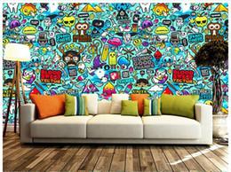 desenhos animados de desenho livre Desconto Frete grátis de Alta Qualidade Personalizado 3d foto papel de parede murais papel de parede Cenários de parede de graffiti mão-extraídas desenhos