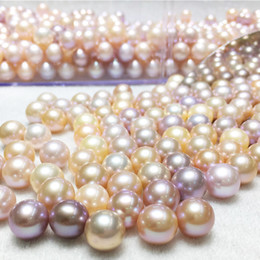Wholesale Bead Necklace Bulk - AAA Round 6-7mm 7-8mm Natural Oyster Pearls White Pink Purple perfect bright pearl bead for Pendant Necklace wholesale bulk lots Gifts