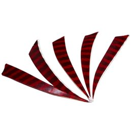Wholesale Feather Arrow Fletching - Red and Black Turkey Feathers 5-inch Shield Left Wing Fletching for Bamboo Wooden Archery Arrows Outdoor Hunting Shooting 30pcs