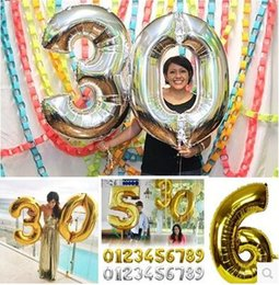 Wholesale Inflatable Figures - 1pcs lot 30inch digit foil mylar gold silver number balloons wedding birthday party decoration figures inflatable balls globos
