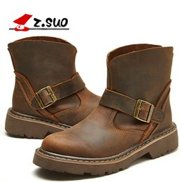 Wholesale cowboy boot straps - new man Martin boots fashion genuine leather Motorcycle boots crazy horse leather man outdoor tooling boots