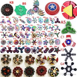 Wholesale Mini Toy Top - Fidget spinner Rainbow double Led Hand Spinners The Avengers Cartoon spider iron spider man toys spinning top EDC finger Toy in metal box