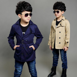 Wholesale Boys Trench - simple classic kids boy trench coat gentle soild Spring causal trench coat for 4-12years boys male children outerwear clothes hot