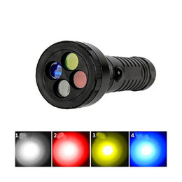 Wholesale Led Light Color Filter - C80 CREE R2 350LM LED Flashlight Torch Multifunction 4 Color Filter Emergency Railway Signal Working Light Lamp 3 Mode Flash
