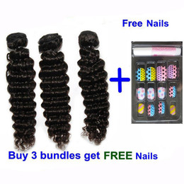 Wholesale Hair Extensions Machine Buy - Brazilian Cambodian Virgin Human Hair Weave Wavy Deep Wave Hair Extensions Curly Hair Bundles Natural Color buy 1 lot get nails Quercy Hair