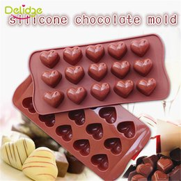 Wholesale Love Heart Chocolate Molds - Wholesale- 1 pc 15 Holes Heart Shape Chocolate Mold DIY Silicone Cake Decoration Mold Jelly Ice Baking Mould Love Gift Chocolate Molds