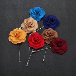 Wholesale Hot Lapel Flower Man Woman Camellia Handmade Boutonniere Stick Brooch Pin Men s Accessories Colors