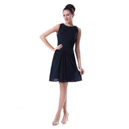 Wholesale Girls Homecoming Dress - 2017 Latest Fashion Girls Gratuation Dress Navy Blue A-Line Chiffon Homecoming Dress Knee Length Beaded Neckline