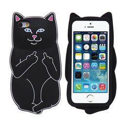 Wholesale Iphone Silicon Cat Cases - 3D Soft Silicon Cat Case For Iphone7 Iphone 7 Plus Cartoon Animals Rubber Middle Finger Cover For iPhone 6S Plus