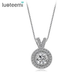 Wholesale Bulk Brass Chain - LUOTEEMI New Arrival Clear Zircon Stone Necklace Pendant Choker Necklace White Gold-Color Jewelry Luxury Wholesale Bulk Stock