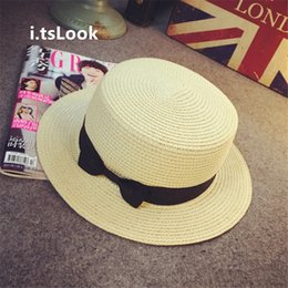 Wholesale Ladies Straw Fedora - Wholesale- i.tsLook Lady Boater sun caps Ribbon Round Flat Top Solid Straw Fedora Chic Panama Hat summer Beach Visor Brief hats BF-173