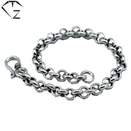 Wholesale Sterling Silver S925 Chains China - GZ 925 Sterling Silver Bracelet Men Jewelry 5mm  6.5mm thickness Link Chain homme pulseras 100% Real S925 Thai Silver Bracelets