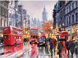 Wholesale Canvas Art Shop - DIY Oil Painting By Numbers Frameless Paint On Canvas Wall Pictures For Living Room Wall Art Home Decor Rain Shopping Street