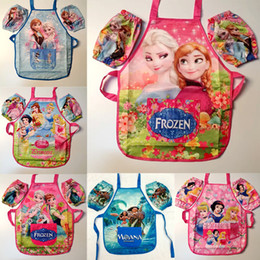 Wholesale Wholesale Smocks Aprons - Kids Moana Frozen Mermaid Sanitary Waterproof Apron + Oversleeves 2 Pieces Sets Children Cooking Art Painting Cartoon Smock