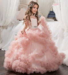 Wholesale Girls First Communion Gown - 2018 Pink Tulle Ball Gown Flower Girl Dresses Sheer Illusion Tulle Neck Short Sleeve Floor Length First Communion Dress Girls Pageant Dress