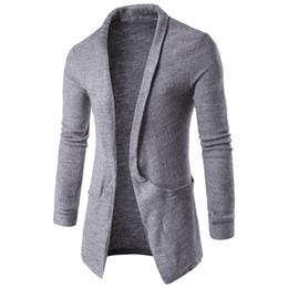 Argentina Al por mayor-2017 Mens Moda Otoño Invierno mangas largas solapa cuello suéter abrigo de largo Rebeca café blanco gris negro outwear cheap coat sleeve length Suministro