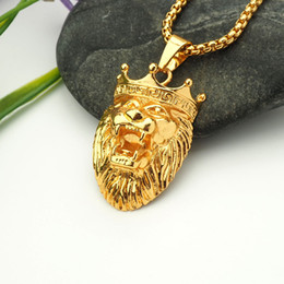 Wholesale Lion Pendant For Men - lion king pendant necklace hip hop gold plated necklaces with chain jewelry for men or women item number hps020